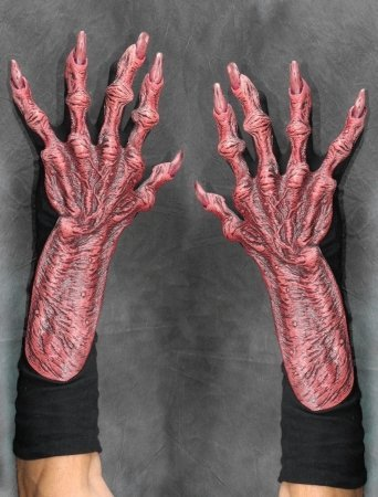 Zagone Devil Gloves, Red Latex Hands, Black Cotton Gloves