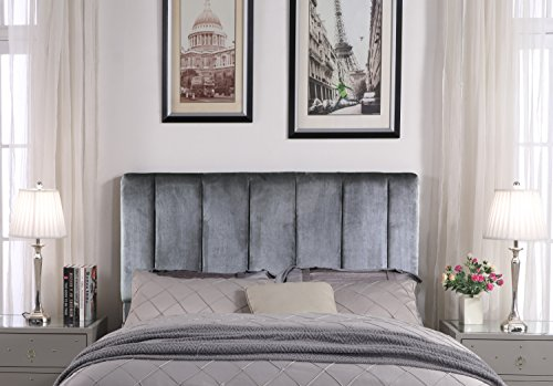- Iconic Home FHB9059-AN Uriella Headboard Velvet Upholstered Vertical Striped Modern Transitional Full/Queen, Grey