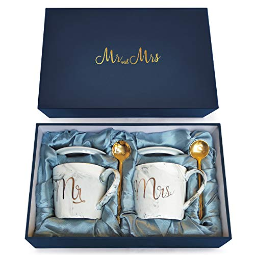 Wedding Gift - Mr and Mrs Mug Set - Classy and Elegant Gift Box with 2 Marble/Gold Tea or Coffee Cups - Beautiful Couples Anniversary, Engagement or Wedding Present (Complete Set Grey & Grey)