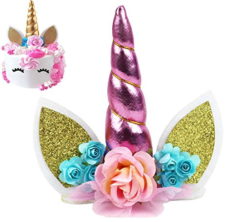 Unicorn Cake Topper, KOOTIPS Unicorn Happy Birthday Twinkle DIY Glitter First Birthday Cupcake Topper Cake Smash Candle Alternative Party Handmade (3D Unicorn Cake Topper Pink)