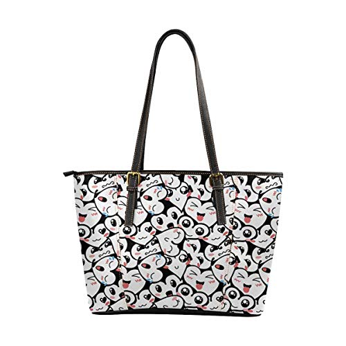 InterestPrint PU Leather Tote Bag for Women School Work Travel and Shopping Heart Background With -