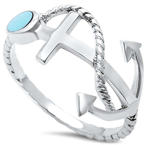 Blue Apple Co. Trendy Sailing Beach Twisted Rope Anchor Band Ring Simulated Turquoise 925 Sterling Silver