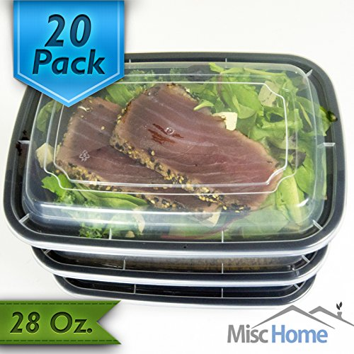 [20 Pack] 28 Oz. Meal Prep Containers BPA Free Plastic Reusable Food Storage Container Microwave & Dishwasher Safe w/Airtight Lid For Portion Control & Bento Box Lunch Box