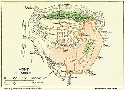 Amazon Com Normandy Normandie Mont St Michel 1928 Old Map
