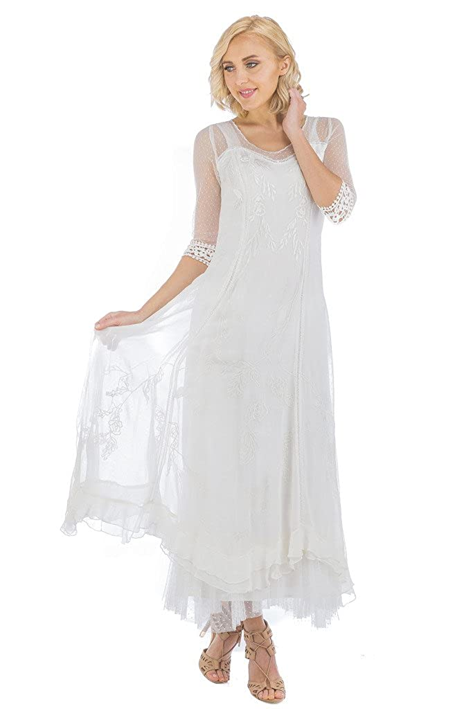 19f25b850a Nataya CL-068 Women's Celine True Romance Vintage Style Wedding Dress In  Ivory (XL) at Amazon Women's Clothing store: