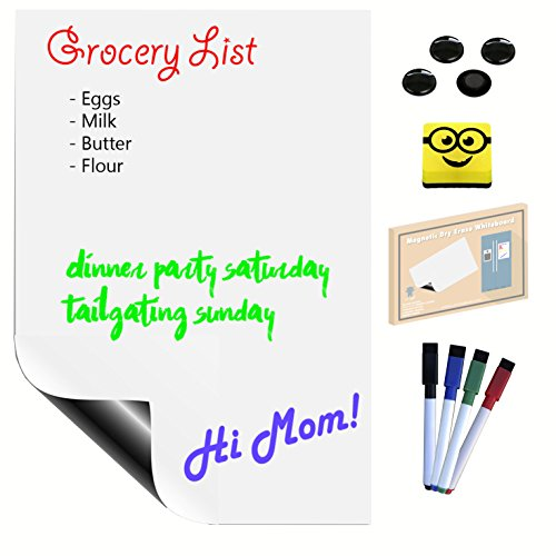 Magnetic Dry Erase Whiteboard | Dry Erase Organiser Memo Board With Magnetic Eraser, 4 Magnetic Markers, 4 Magnetic Buttons, 100 Video Recipes