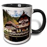 3dRose Danita Delimont - Black Forest - Germany, Triberg, Eble Uhren Park, worlds largest cuckoo clock - 11oz Two-Tone Black Mug (mug_248757_4)
