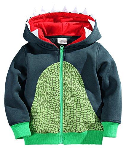 Fiream Child Cotton Animal Zip Front Jacket Hoodie Sweatshirt(Monster,4T)