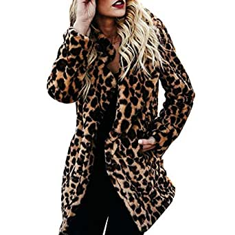 Nevera Women Winter Warm Leopard Print Pullover Jumper