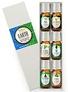Essential Earth Set 100% Pure, Best Therapeutic Grade Essential Oil Kit - 6/10mL (Cypress, Frankincense, Fir Needle, Pine, Meditation, and Patchouli)