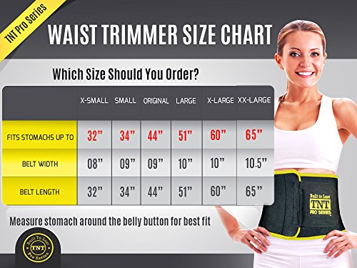 TNT Pro Series Waist Trimmer Weight Loss Ab Belt Premium Stomach Fat Burner Sweat Wrap and Workout Waist Trainer
