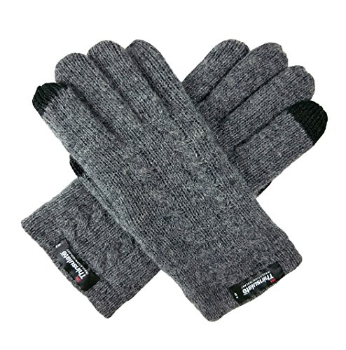 Bruceriver Ladie's Pure Wool Knit Gloves with Thinsulate Lining and Cable design Size M (Grey Touchscreen)