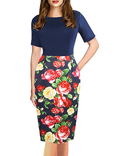 Fantaist Women's Vintage Floral Print Knee Length Pocket Business Bodycon Dress (S, FT607-Navy Blue) by Fantaist