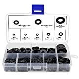 HSeaMall 500PCS Black Nylon Insulating Flat Washer Round Spacer Washer Assortment Kit for M2 M2.5 M3 M4 M5 M6 M8 M10 Screw (500PCS Black Nylon Flat Washer)