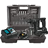 "Makita XRH06RBX 18V LXT Lithium-Ion Sub-Compact Brushless Cordless 11/16"" Rotary Hammer Kit, accepts SDS-PLUS bits, 65 Pc. Accessory Set (2.0 Ah)"