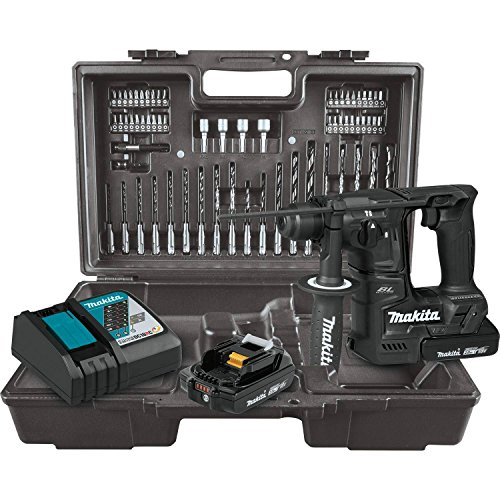 Makita XRH06RBX 18V LXT Lithium-Ion Sub-Compact Brushless Cordless 11/16″ Rotary Hammer Kit, accepts SDS-PLUS bits, 65 Pc. Accessory Set (2.0 Ah)