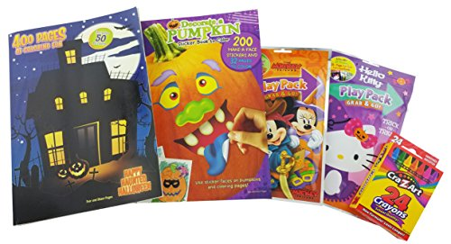 "Halloween Bundle Gift for Kids | 5 Items: ""Happy Haunted Halloween"" 400-page Coloring Book, ""Decorate a Pumpkin"" Sticker & Coloring Book, Mickey & Hello Kitty Play Packs & Box of 24 CraZart Crayons"
