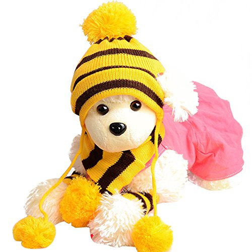 1 Set Pets Pet Dog Puppy Pet Accessories Cats Hats Scarf Socks Warm Comfortable Breathable Christmas Gift Dog Scarf Dog Neckerchief Saliva Towe Dog Bibs Dog Bandana Scarf (Yellow, XXS) by succeedtop (Image #5)