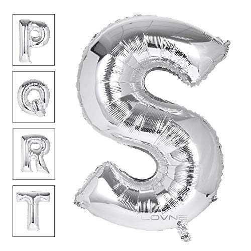 Lovne 40 Inch Jumbo Silver Alphabet S Balloon Giant Prom Balloons Helium Foil Mylar Huge Letter Balloons A to Z for Birthday Party Decorations Wedding Anniversary