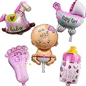 5 Pcs Baby Pink Party Balloons, 14inch Baby Shower Party Foil Baby Boy Girl Balloons Birthday Party Decoration