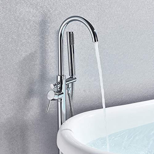 Senlesen Single Handle Modern Freestanding Bathtub Shower Mixer Taps Clawfoot Tub Shower Faucets with Hand Sprayer Chrome -