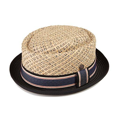 Dasmarca Mens Straw Summer Pork Pie Hat - Jake Natural Crown with Black - Pork Straw