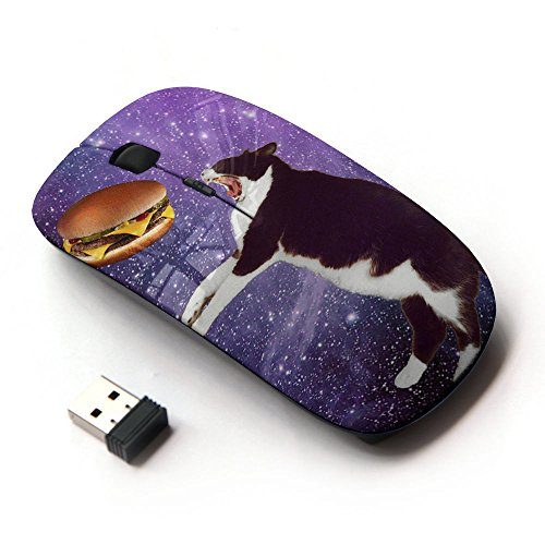 STPlus Fat Cat Eating Burger In Space Funny 2.4 GHz Wireless Mouse with Ergonomic Design and Nano Receiver