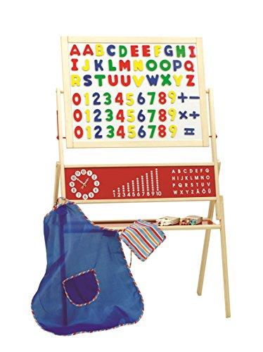 roba 7019 ZU - Standtafel mit Schürze, Kreide, Magnetbuchstaben und -Zahlen, natur, 1 Tafelseite magnetisch, 1 Tafelseite liniert 112 x 69 x 41,5 cm
