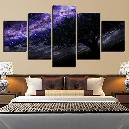 mmwin Canvas s Wall Art Living Room 5 Unidades Púrpura Vía Láctea Imágenes Impreso Starry Sky Tree Poster Modular Home Decor: Amazon.es: Hogar