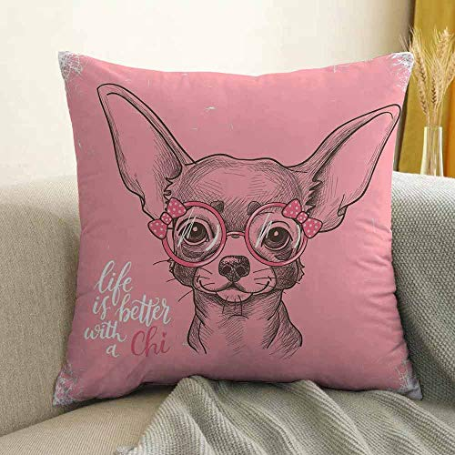 Dog Pillowcase Hug Pillowcase Cushion Pillow Girl Chihuahua Sketch Illustration with Quote Fashion Glasses Ribbons Puppy Anti-Wrinkle Fading Anti-fouling W16 x L24 Inch Pale Pink Army Green