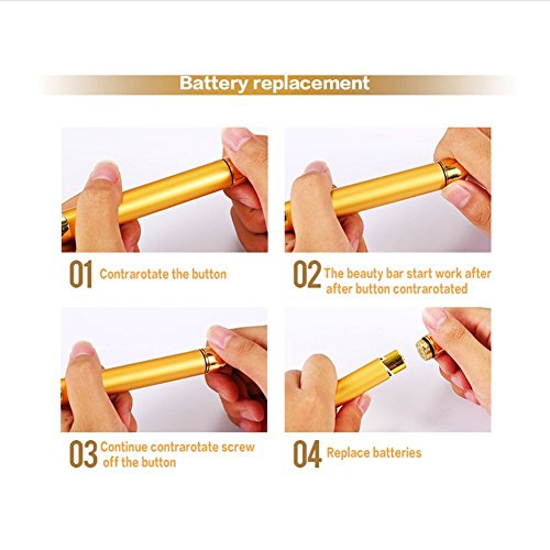 Beauty Bar 24k Golden Pulse Energy Facial Massager, T Shape Electric Face Massager for Pull Tight Firming Lift Daily Skin Care