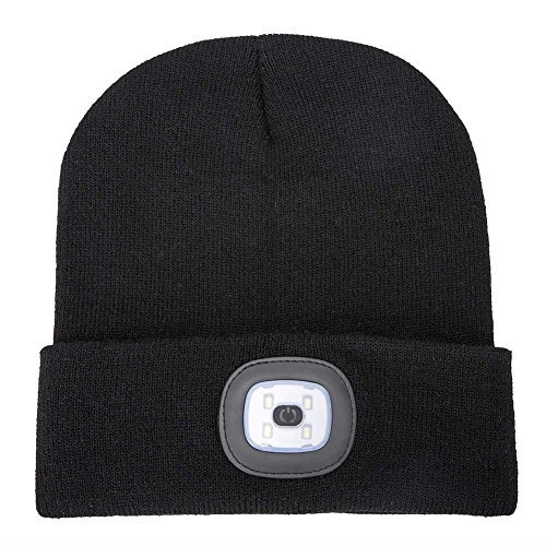 34fda1ff AONAN USB Rechargeable LED Beanie Cap, Lighting and Flashing Alarm Modes Ultra  Bright 4 LED