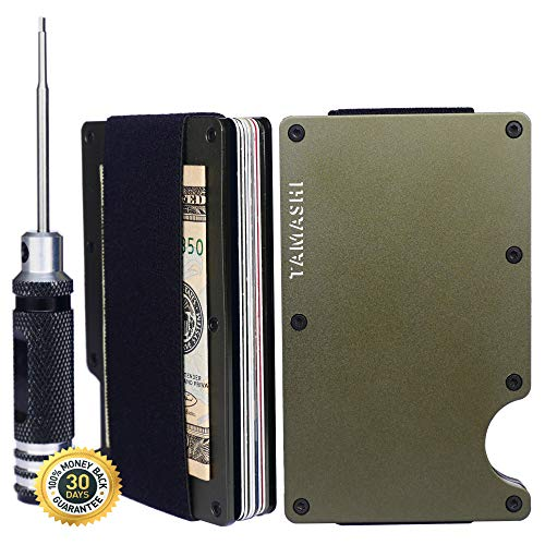 TAMASHI Minimalist Carbon Fiber RFID Rigid Wallet, Front Pocket Wallets for Men and Women | eBook and Extra Screws Included (Army Green - Strap) -