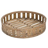 Expressly Hubert Round Slatted Chip Wood Basket - 22''Dia x 4 23/32''H