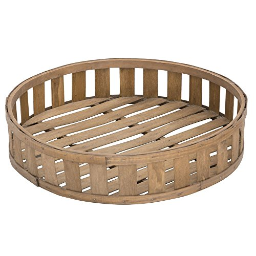 Expressly Hubert Round Slatted Chip Wood Basket - 22''Dia x 4 23/32''H by Hubert