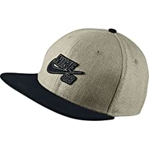 Nike Mens SB S+ Raw Canvas Pro Snapback Hat Bamboo/Black/Pine Green