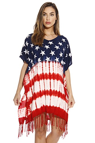 Riviera Sun 21626-S American Flag Caftan/Caftans/Swimsuit Cover Up