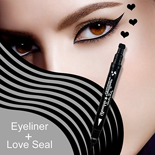 MIOBLET 1PC Super Double-headed Black Liquid Eyeliner Pencil Pen Waterproof Star Heart Moon Flower Shape Seal Stamp Tattoo Eyes Liner Makeup (Love Seal) ()