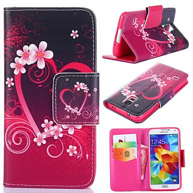 Plum Blossom Pattern with Card Bag Full Body Case for Samsung Galaxy S5 S4 S3 Mini S4 Mini S5 Mini ( Compatible Models : Galaxy S4 Mini )
