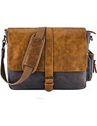 NiceEbag Leather Messenger Bag Vintage Briefcase Canvas Shoulder Bag Up To 15.6 inch Laptop / Computer / Tablet...