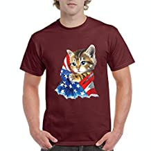 Xekia Cute Kitty with American Flag 4th of July Cat Men's T-Shirt Tee