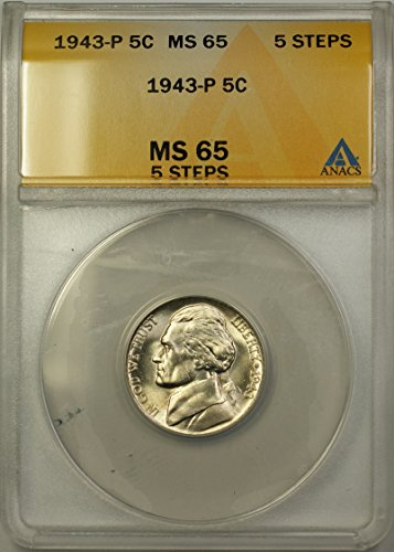 1943 P Jefferson Wartime Silver 5c Coin (RL-A) 5 Steps Nickel MS-65 ANACS