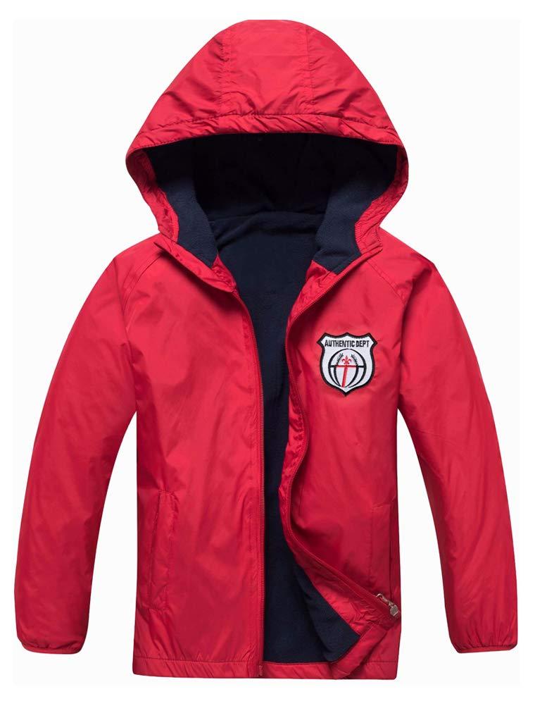 Mallimoda Boy's Waterproof Hooded Jacket Zipper Up Rain Coat Red 5-6 Years