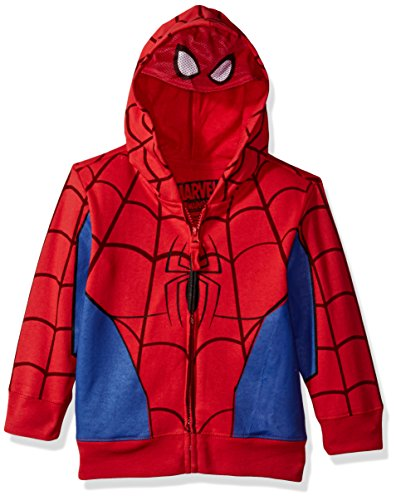 Marvel Toddler Boys' Spiderman Mask Costume Hoodie, Red, 3T