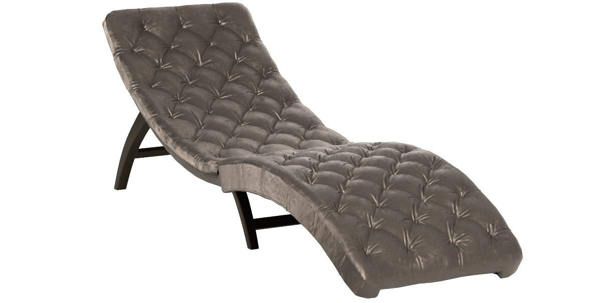 Christopher Knight Home 302203 Garamond Tufted Grey Velvet Chaise Lounge, Dark Brown by Christopher Knight Home