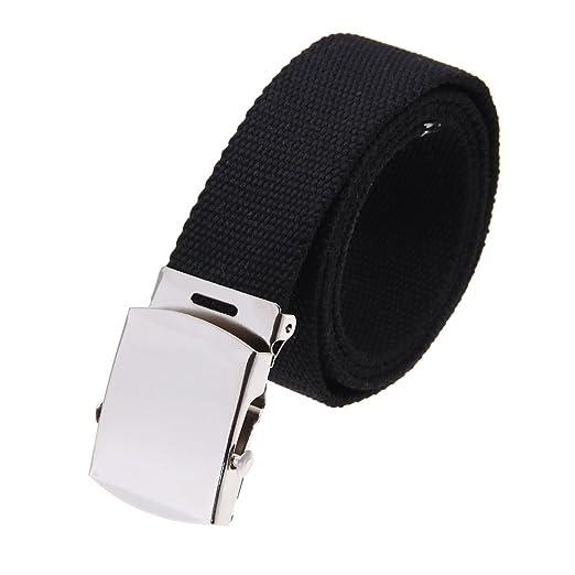 117d5d6d1ea3 TOOGOO(R) Boucle de ceinture unisexe homme femme toile tissu noir   Amazon.fr  Vêtements et accessoires