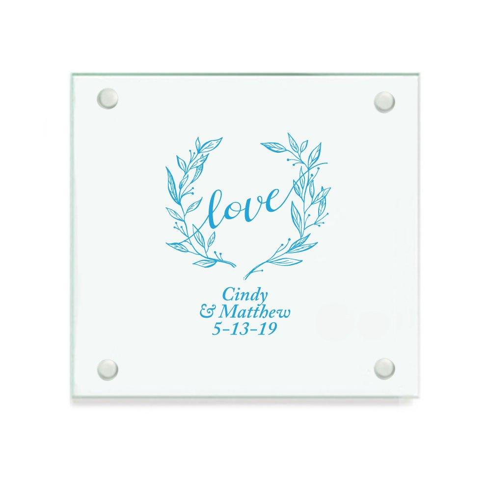 Personalizedカラープリントガラスコースター – Love Wreath ブルー CST9703-EDPP3A-BLU-144pk 144 ブルー B07B3W9LYN