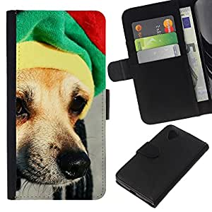 EJOY---La carpeta del tirón la caja de cuero de alta calidad de la PU Caso protector / LG Nexus 5 D820 D821 / --Rasta Sombrero perro Chihuahua Hocico Hocico