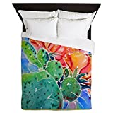 CafePress - Cactus! Colorful Southwest Art!, Prickly Pear! Que - Queen Duvet Cover, Printed Comforter Cover, Unique Bedding, Microfiber