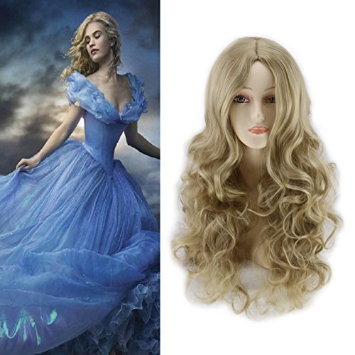 [Women's Long Wavy Curly Dark Golden Hair Anime Cospaly Wigs +Wig Cap] (Perm Wigs)